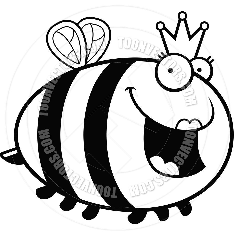 940x940 Cartoon Queen Bee (Black and White Line Art) by Cory Thoman Toon