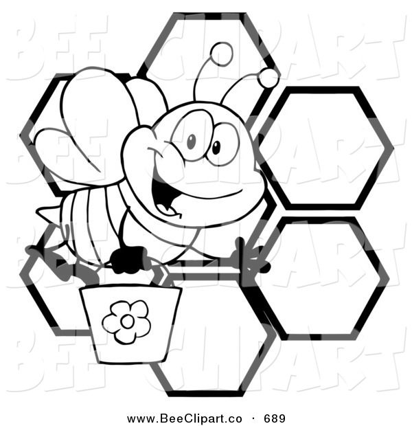 600x620 Cartoon Vector Clip Art of a Black and White Bee Waving and