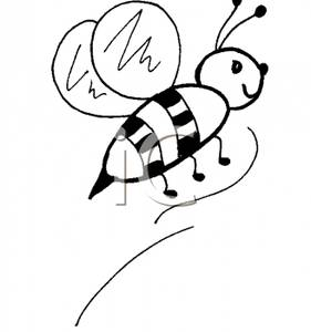 281x300 Art Image Black and White Bee In Flight