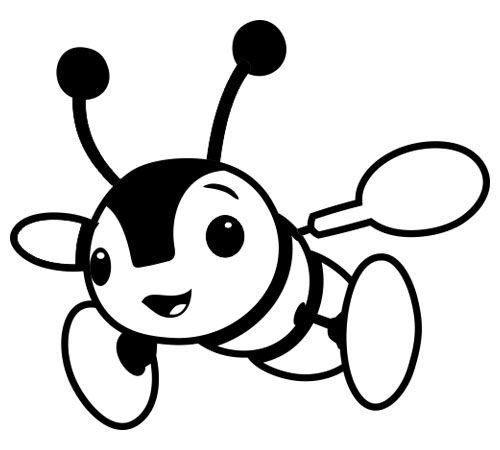 500x450 Free Bee Clipart Black and White Image
