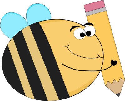 400x324 Funny Bee with a Big Pencil Clip Art