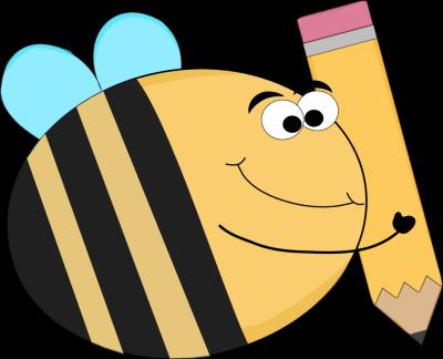400x324 Funny Bee With A Big Pencil Clip Art
