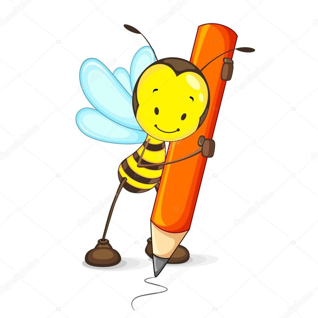 1024x1024 Bee Drawing With Pencil Stock Vector Stockshoppe