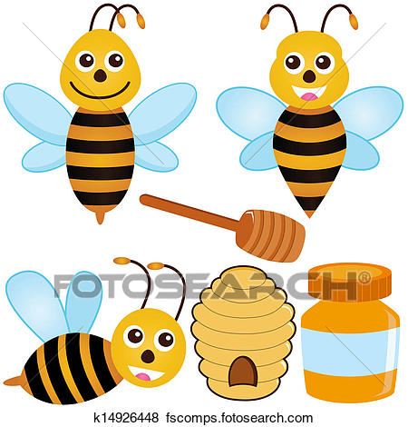450x470 Clip Art Of Bee, Honey, Beehive K14926448