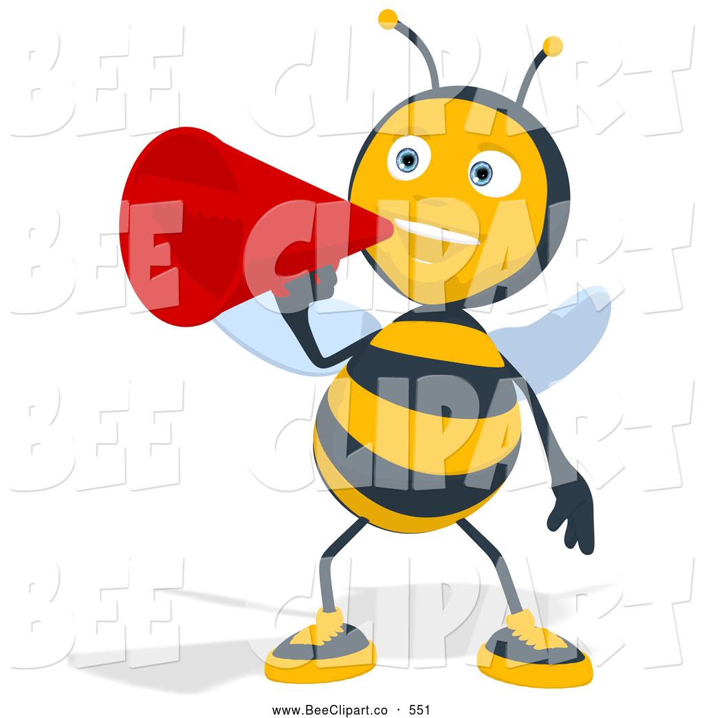 1024x1044 Cartoon Clip Art of a Bee Talking Through a Megaphone by Julos
