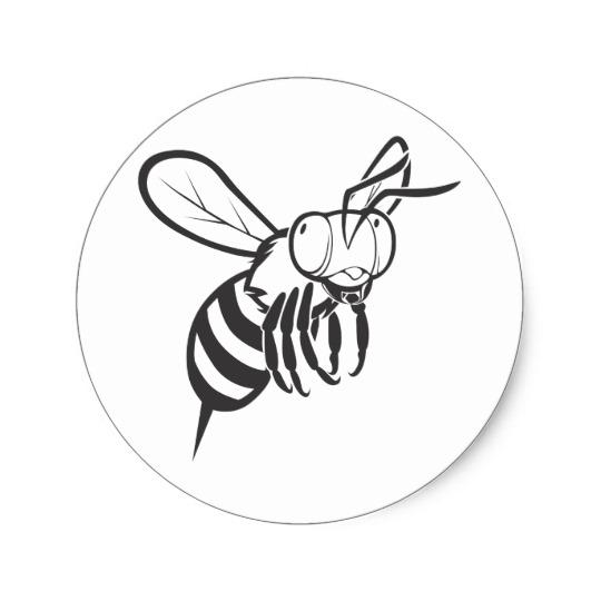 540x540 Cool Queen Bee Outline Cartoon Shirt Classic Round Sticker