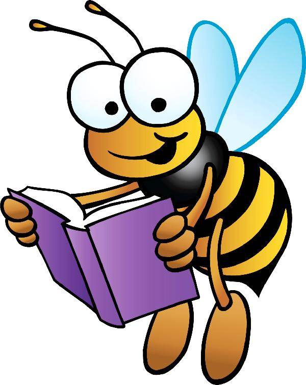 600x755 Bee Reading Clipart