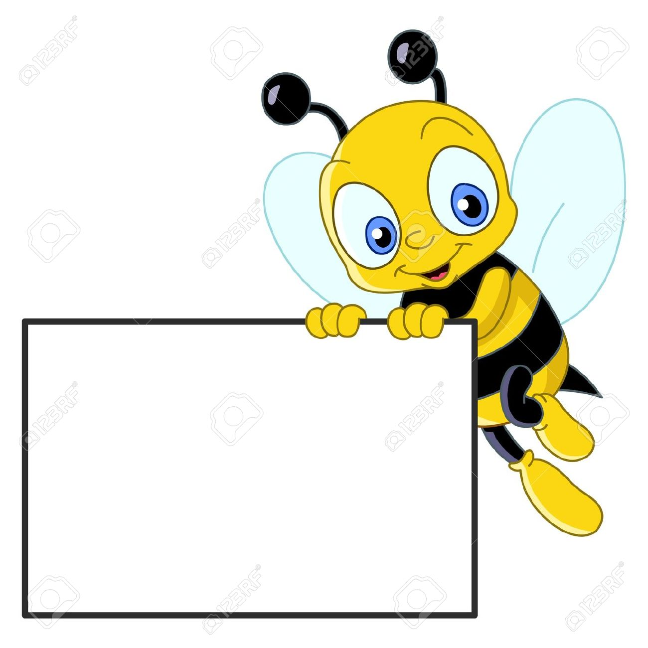 1300x1300 Cute Bee Holding A Blank Sign Royalty Free Cliparts, Vectors,