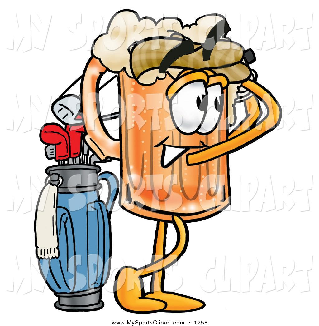 1024x1044 Sports Clip Art Of A Golfer Beer Mug Mascot Cartoon Character