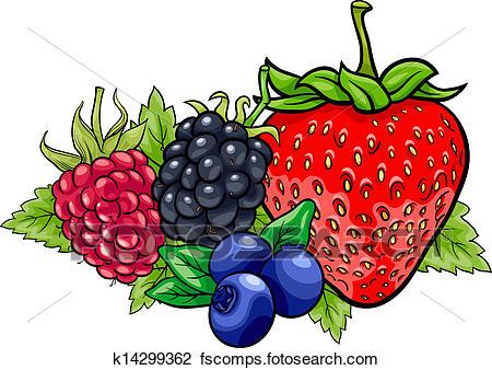 450x338 Clipart Of Berry Fruits Cartoon Illustration K14299362