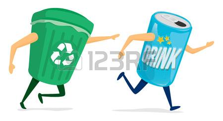 450x244 Cartoon Illustration Between Recycling Bin And Soda Can Royalty