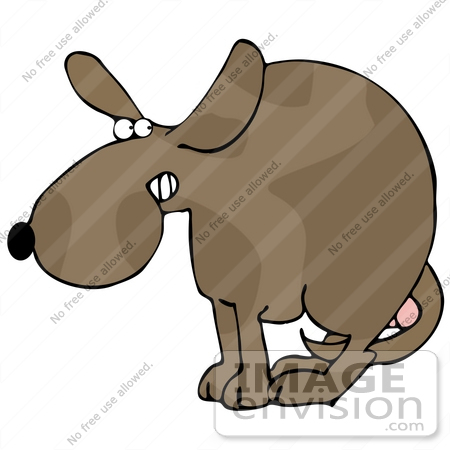 450x450 Clip Art Graphic Of A Scared Dog Cowering With His Legs Tucked