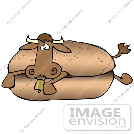 450x450 Clip Art Graphic Of An Unsuspecting Brown Cow Lying In The Center