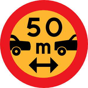300x300 50m Between Cars Sign Clip Art
