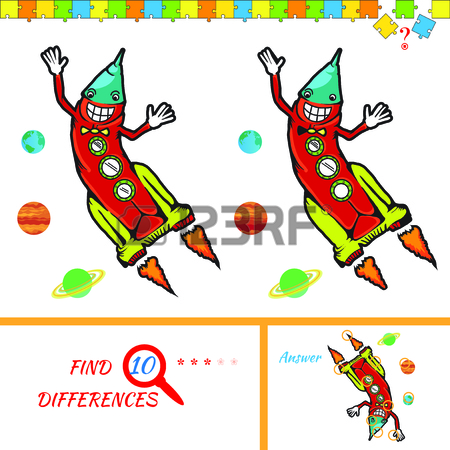 450x450 Find Ten Differences Between The Two Pictures. Cartoon Rocket
