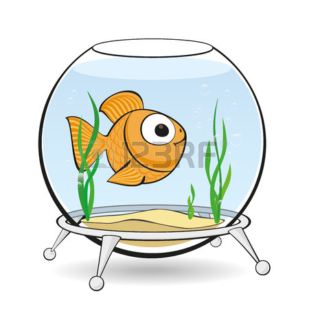 450x450 Lonely Goldfish Swim In An Aquarium Between Algae Royalty Free