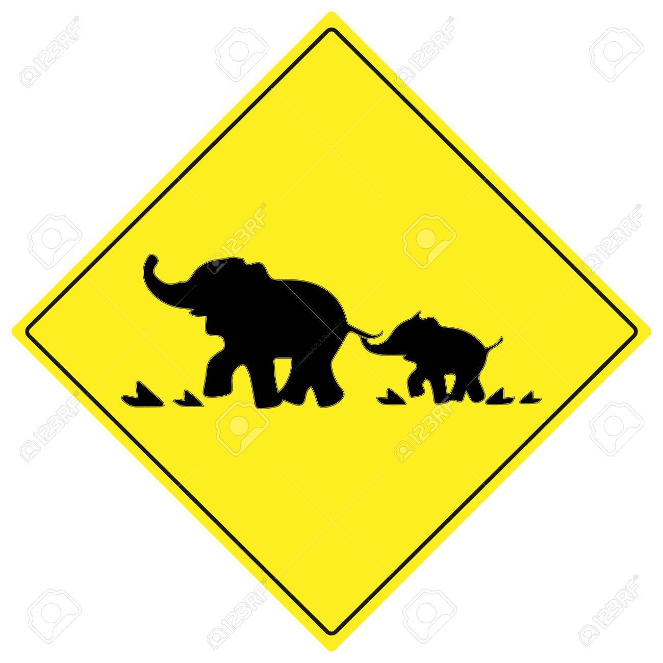 1300x1300 Beware Elephant Traffic Sign. Elephant Warning Traffic Sign
