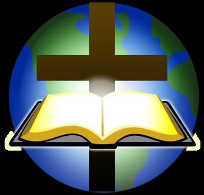 400x382 Image Bible And Cross Before Globe Cross Image