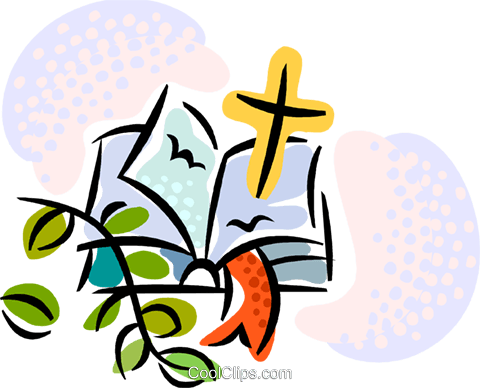 480x388 Bible And Cross Royalty Free Vector Clip Art Illustration