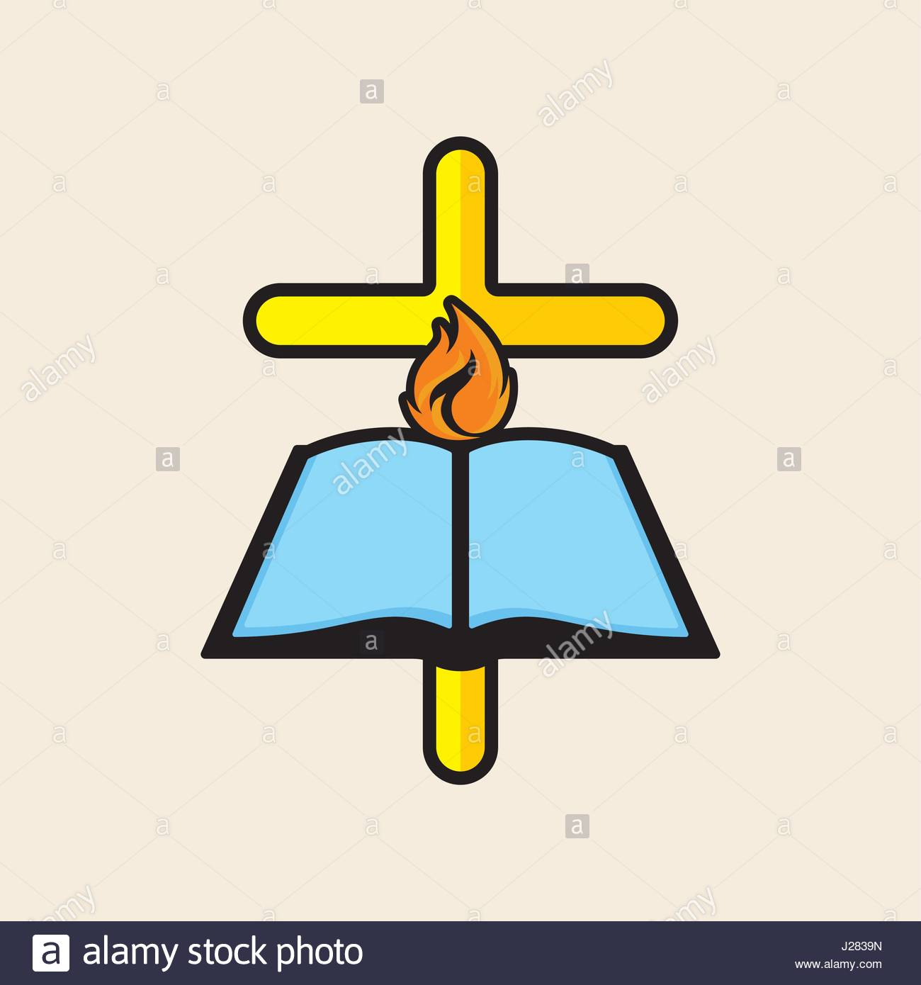 1300x1390 Church Logo. The Cross Of Jesus, The Open Bible And The Dove