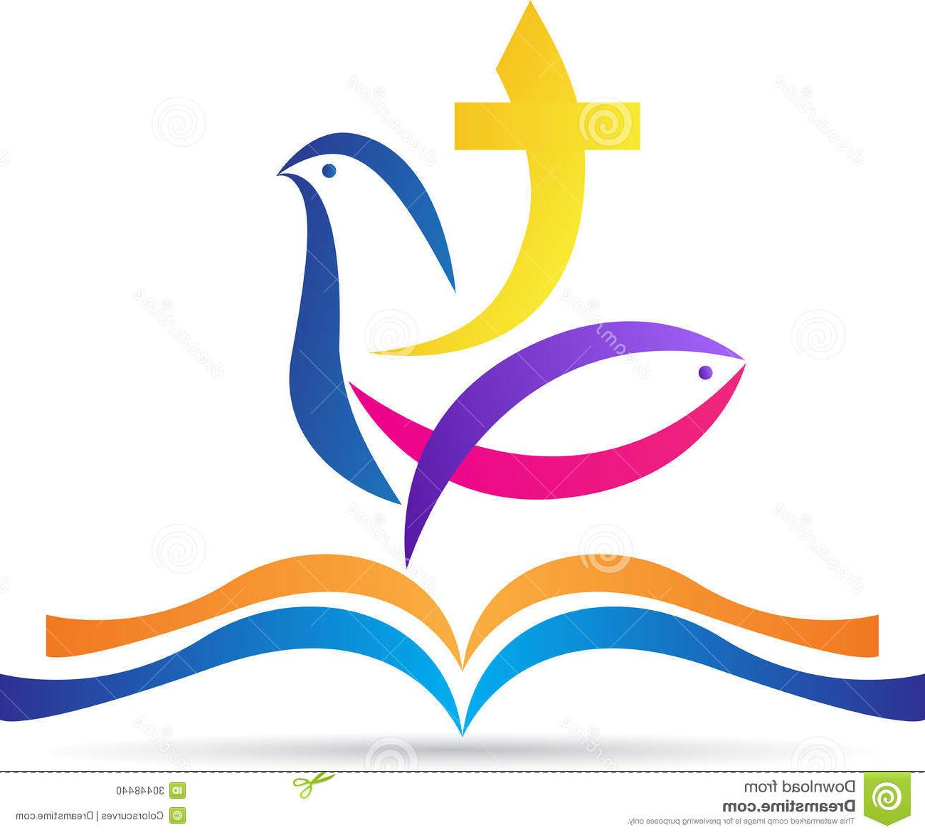 1300x1173 Hd Holy Bible Cross Dove Fish Vector Drawing Represents Design