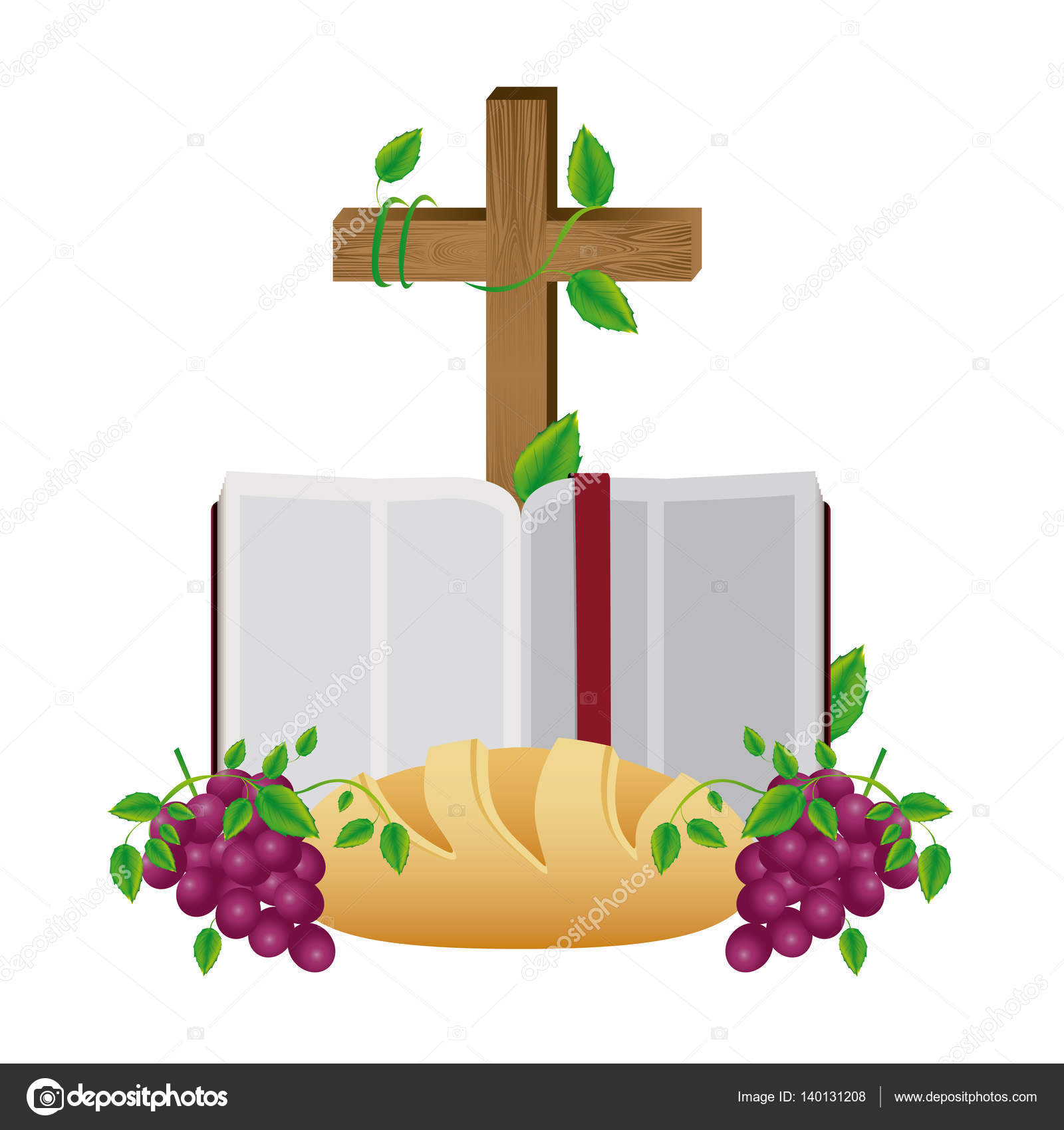 1600x1700 Colorful Silhouette With Holy Bible Open With Cross Bread