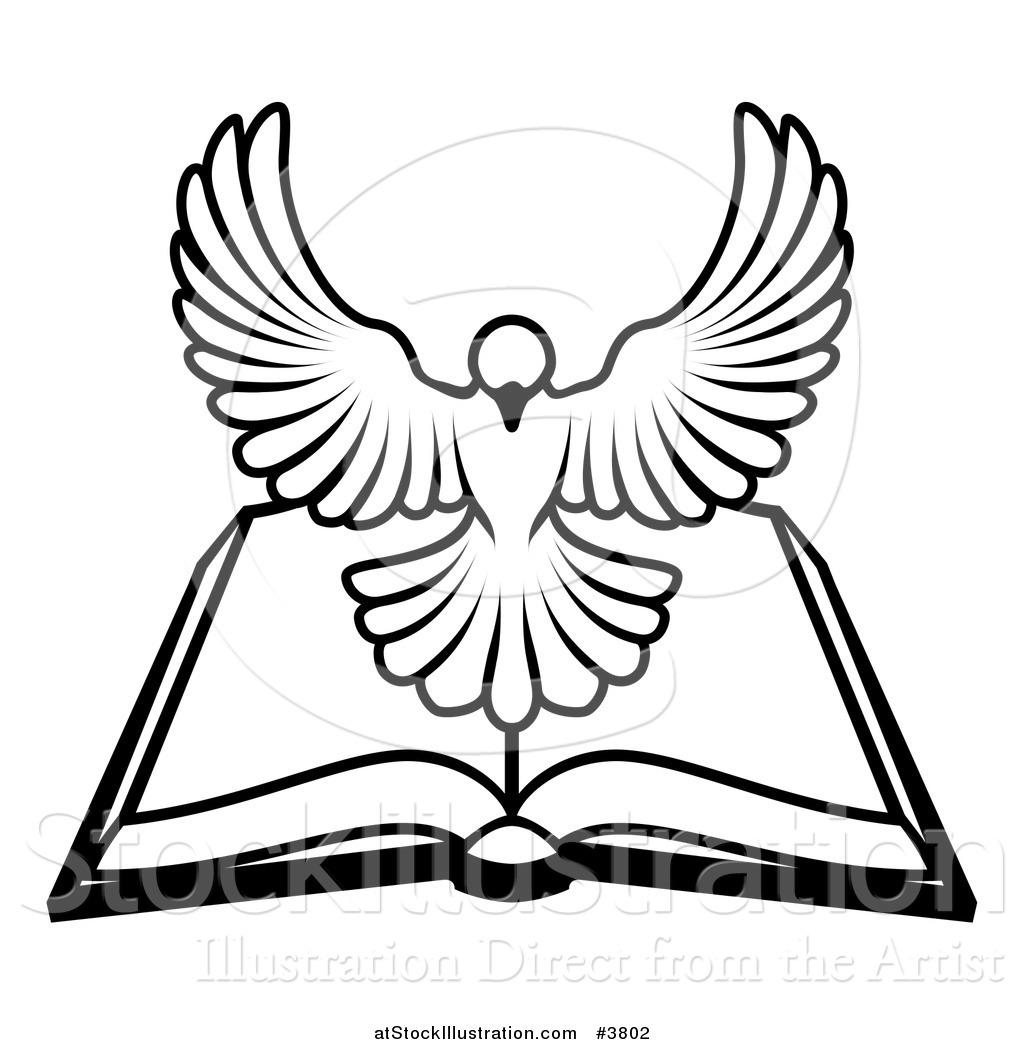 1024x1044 Vector Illustration Of A Blackd White Holy Spirit Dove Above