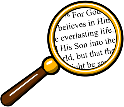 400x344 Image Magnifying Glass Over Bible Bible Clip Art