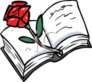 300x269 Red Rose On An Open Bible Clip Art Image