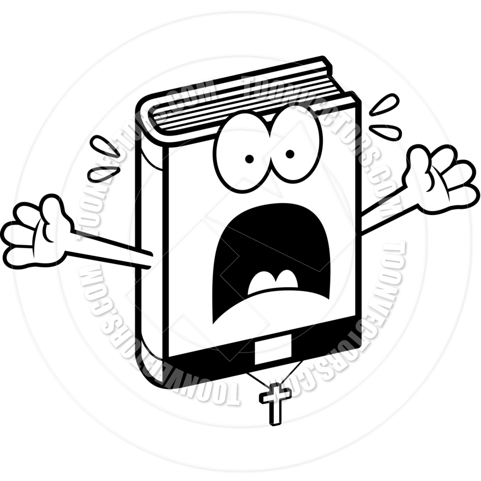 940x940 Cartoon Bible Scared (Black And White Line Art) By Cory Thoman
