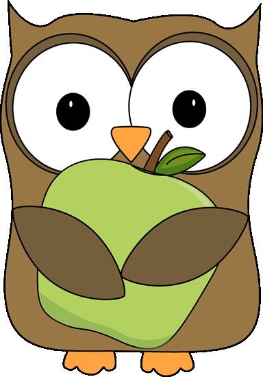 384x550 Owl Holding A Green Apple Clip Art