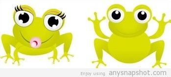 349x158 Vector Green Frog With Big Eyes Clip Art