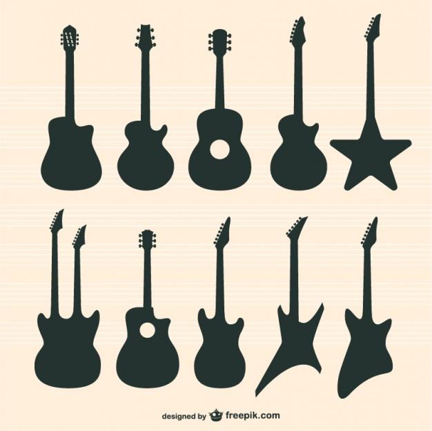 626x625 Guitares Vecteur Ensemble Guitars, Silhouettes And Tattoo