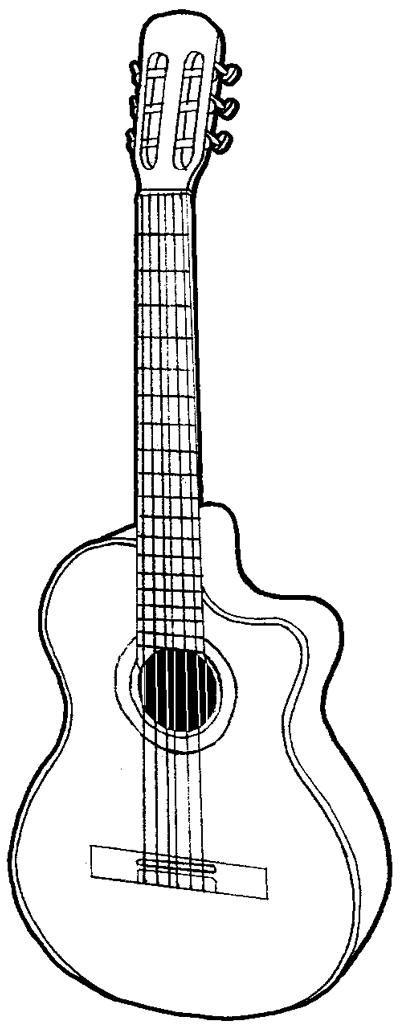 Big Guitar Outline Drawing Free Download Best Big Guitar Outline