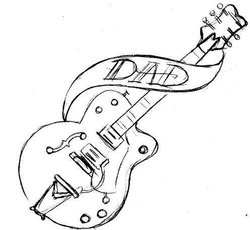 Big Guitar Outline Drawing | Free download best Big Guitar