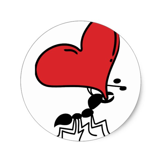 540x540 Big Heart Ant, Lots Of Love Ant Classic Round Sticker