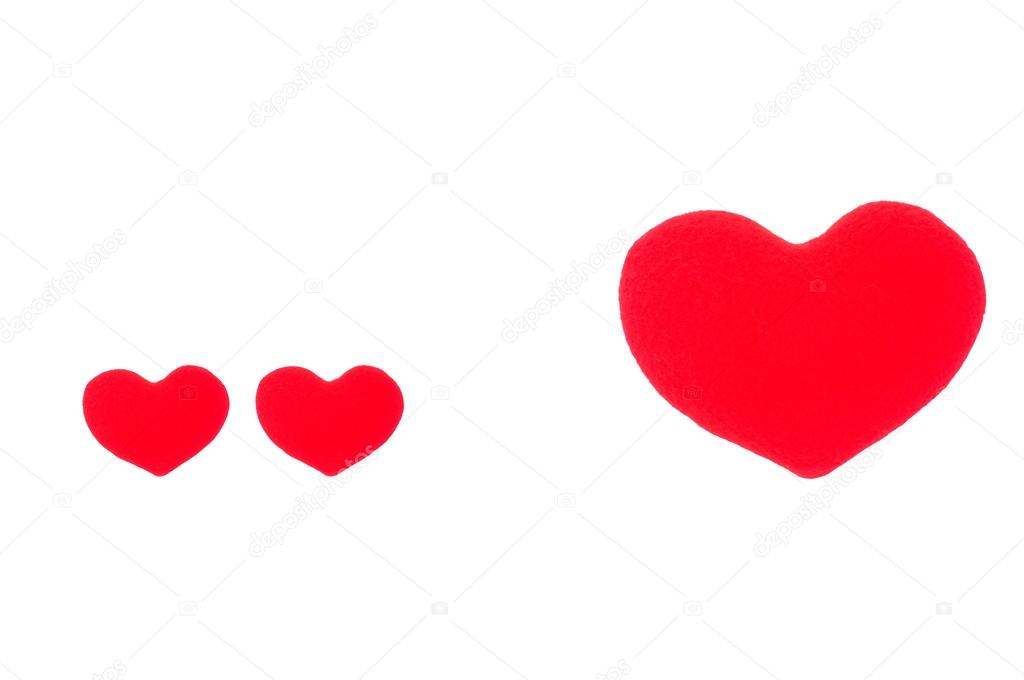 1024x680 A Small Red Heart And A Big Red Heart On A White Background