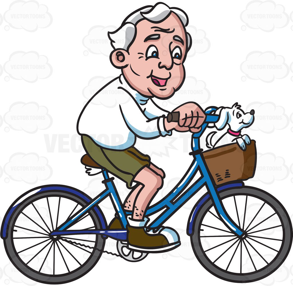 1024x1001 A Grandpa Riding His Bike With A Dog Cartoon Clipart