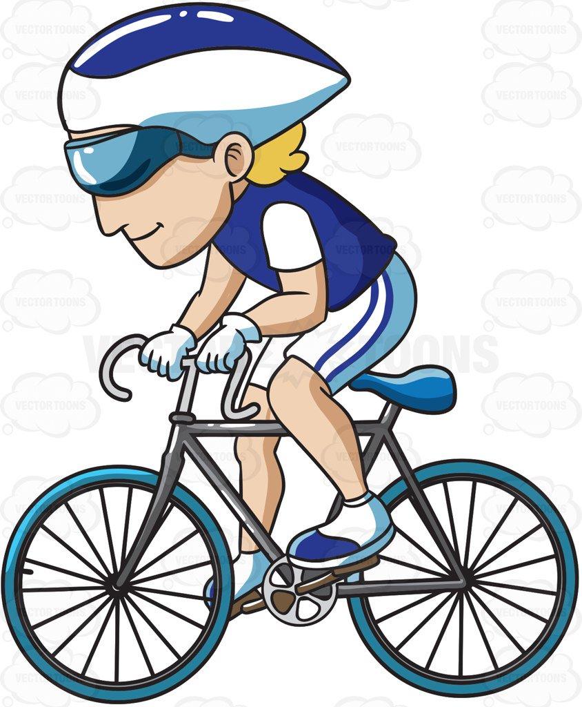 844x1024 A Man Enjoying A Ride On His Road Bike Cartoon Clipart