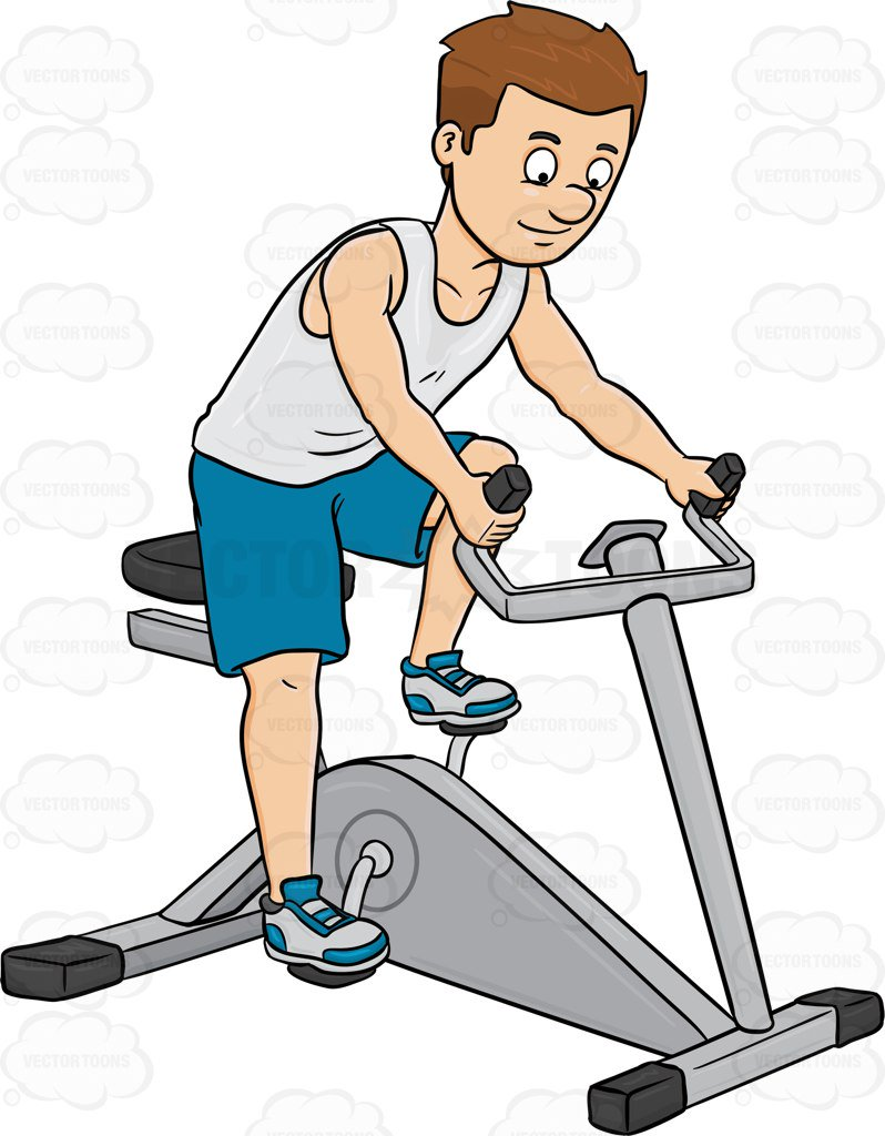 798x1024 A Man Enjoys Riding A Stationary Bike Cartoon Clipart