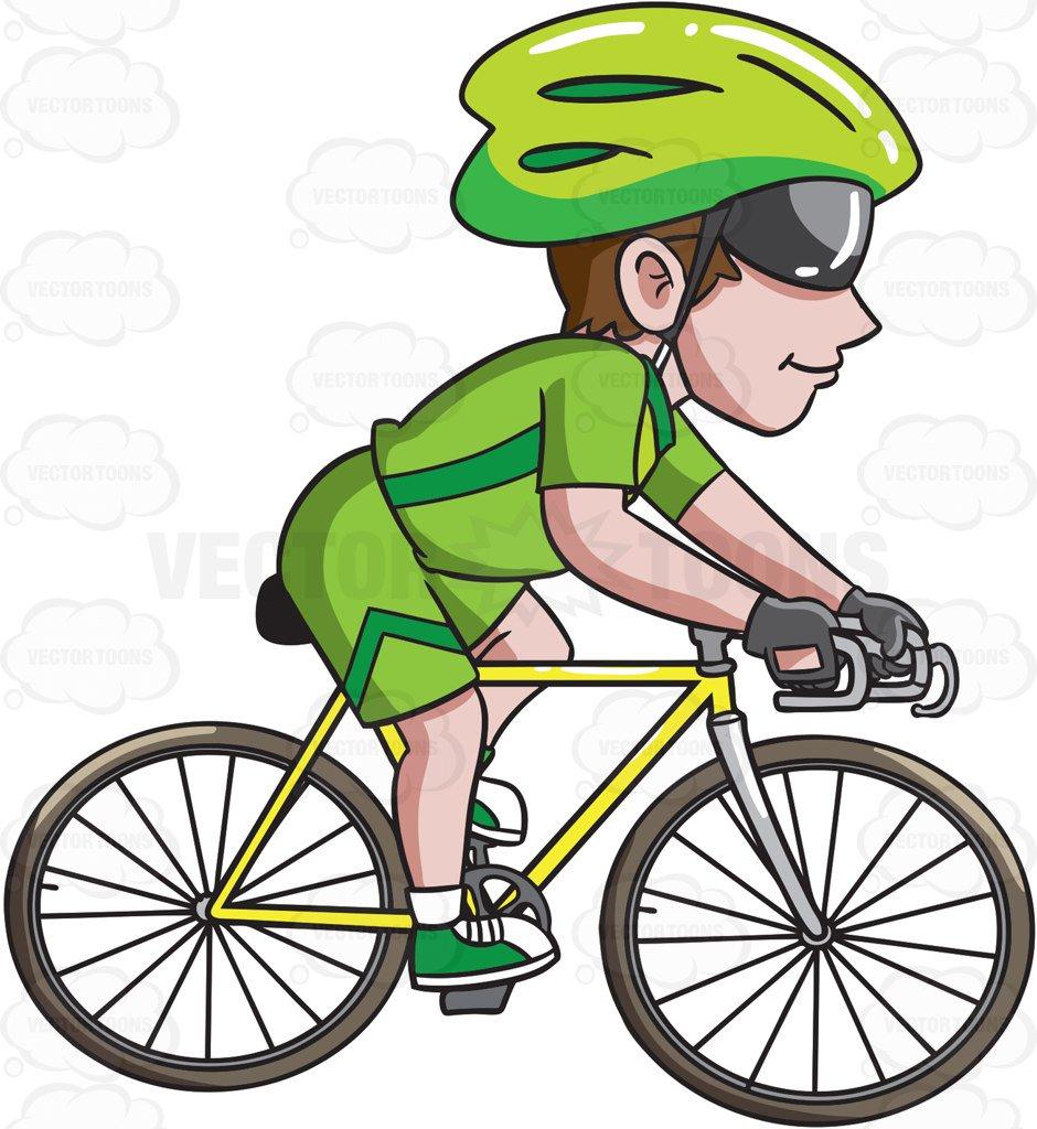 940x1024 A Man Riding A Road Bike Cartoon Clipart