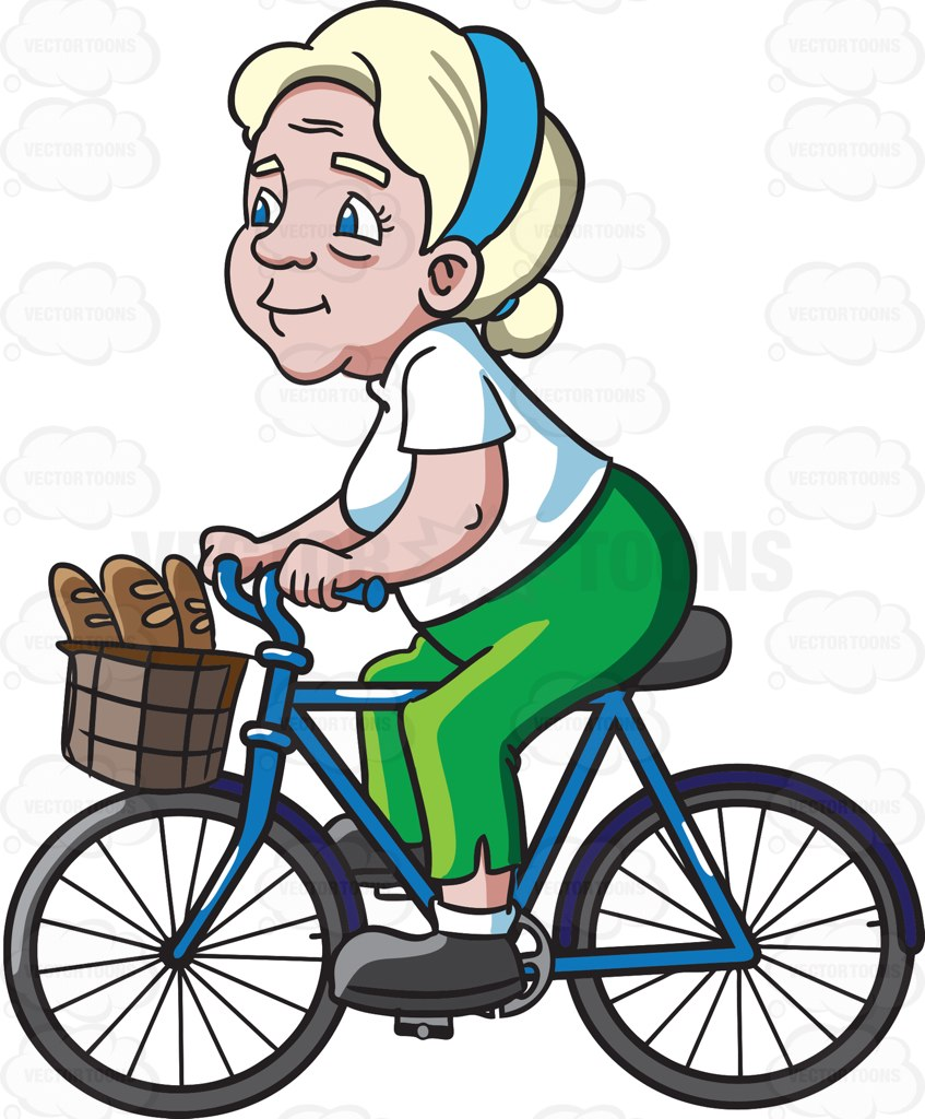 847x1024 A Female Senior Citizen Rides A Bike To Buy Some Baguettes Cartoon