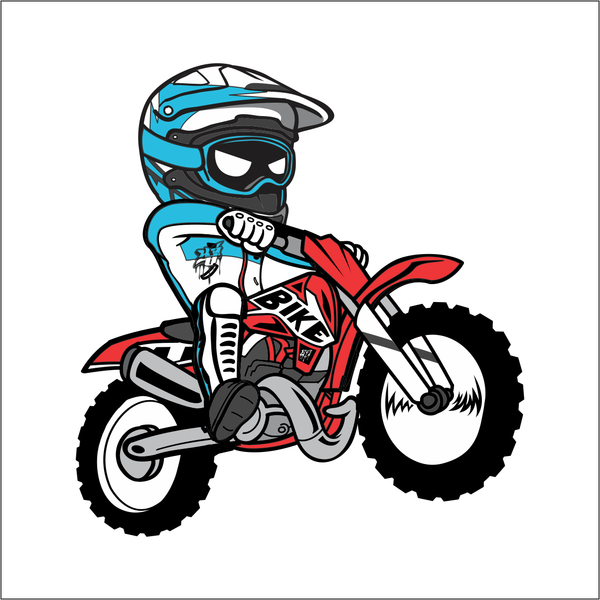 600x600 Cartoon Dirt Bike Sticker Yamps Designs, Llc