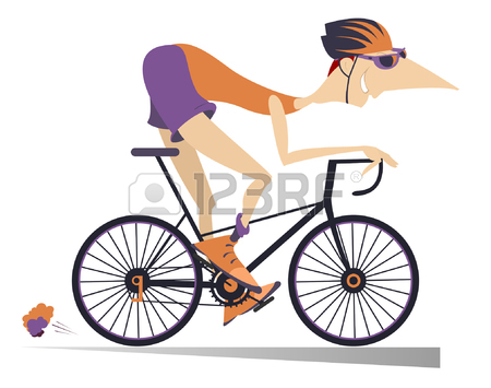 450x355 Cartoon Man Rides A Bike Isolated. Smiling Man In Helmet On