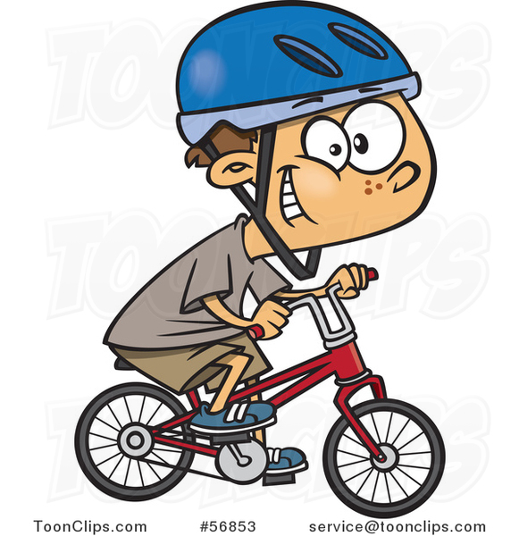 581x600 Cartoon White Boy Wearing A Helmet, Grinning And Riding A Bicycle