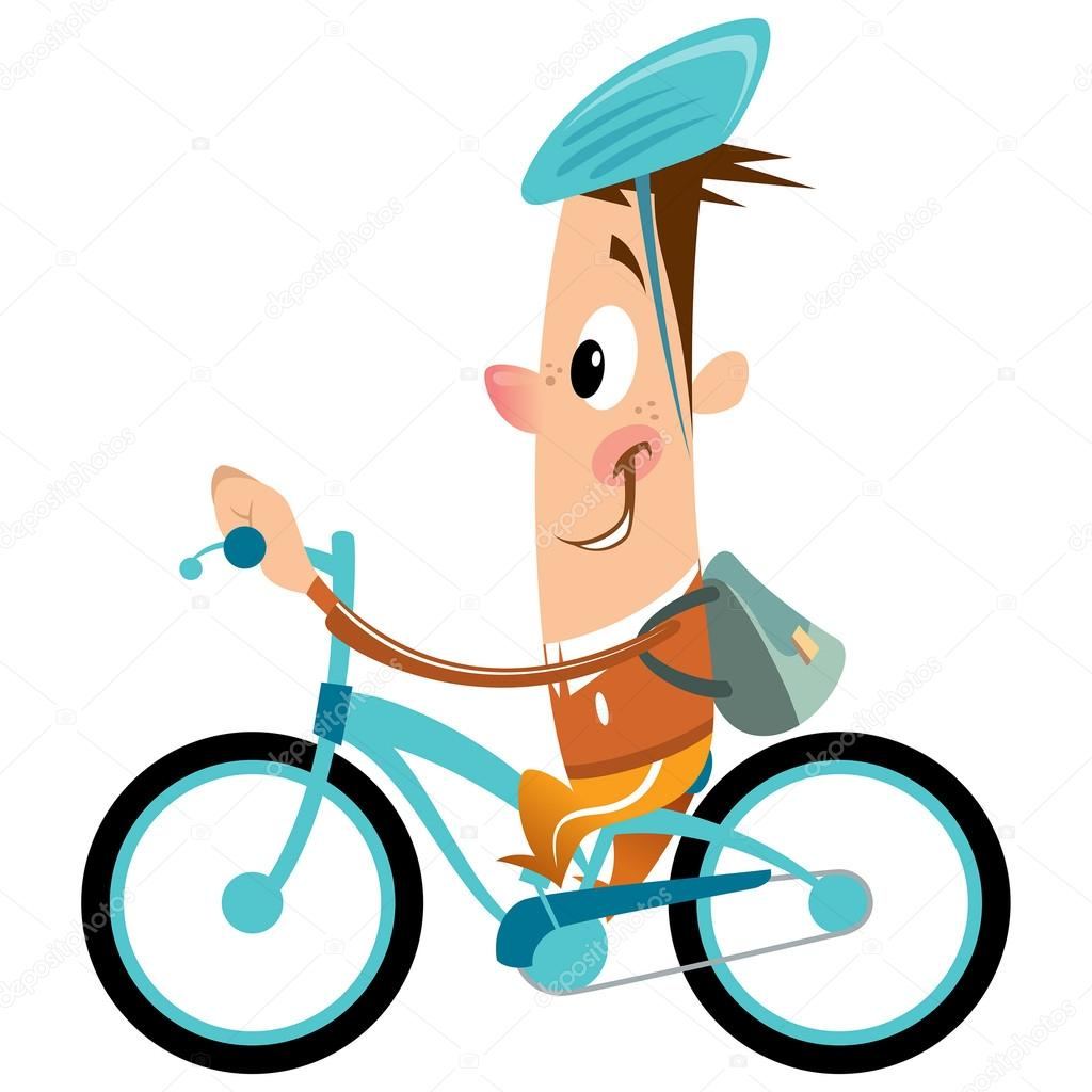 1024x1024 Cartoon Boy With Backpack And Helmet Riding Turquoise Bike Smili