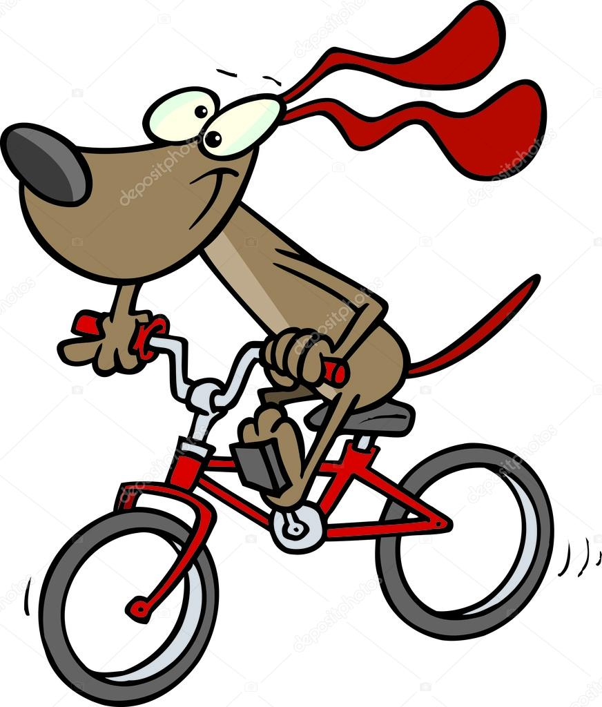 872x1024 Cartoon Dog And Bike Stock Vector Ronleishman