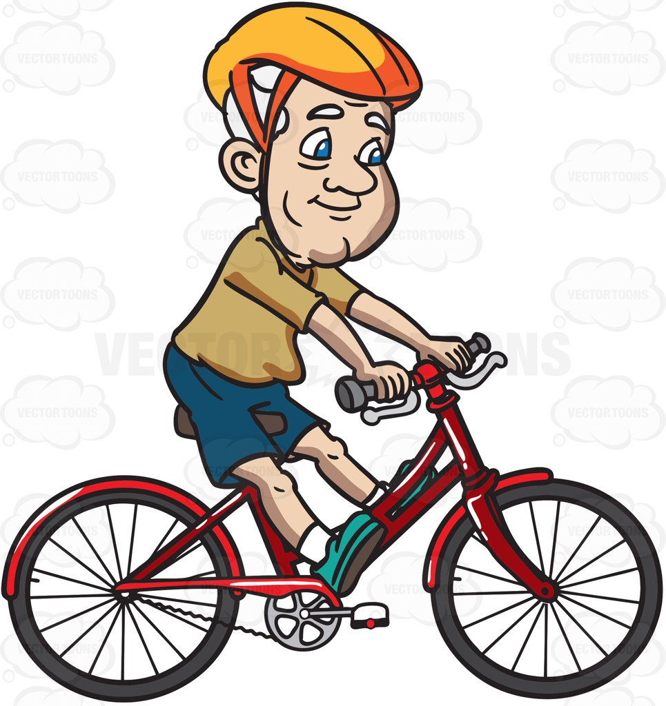 965x1024 A Grandpa Enjoys Riding A Bike Cartoon Clipart