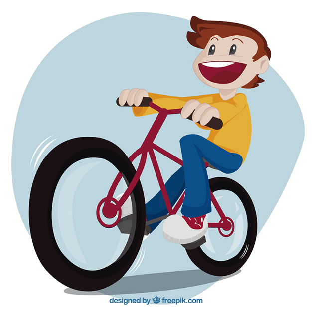 626x626 Kid Riding A Bike Vector Free Download
