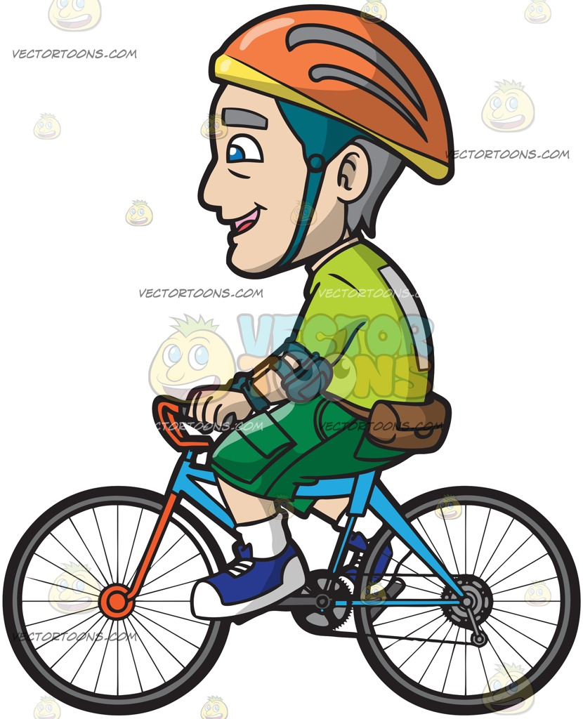 830x1024 A Mature Man Riding A Bike Cartoon Clipart